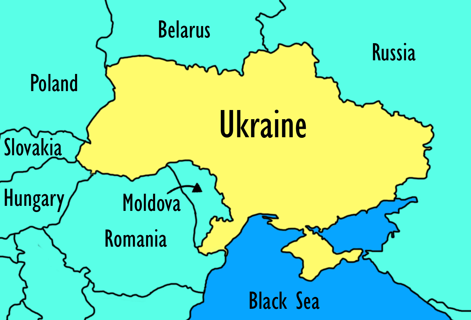 Map of Ukraine and its neighbouring countries